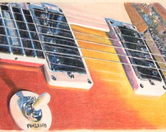 One-off, original drawing of a Gibson Les Paul electric guitar, in charcoal and pastel on calico