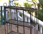 Iron Folding Shelf Vintage Rustic Metal Table Top Shelf Buffet Table Stand