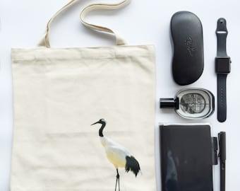 "Bakeriest "" Crane Canvas Tote Bag Shopper Shoulder Purse with Pocket"