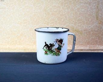 Vintage Soviet Era Enameled Nursary Rhytmes Mug