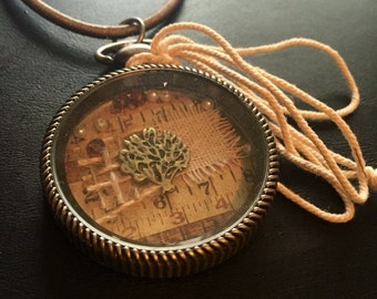 Tree of life collage necklace