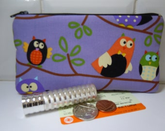 Coin purse,owl fabric,small zipper pouch