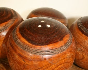 Beautiful old wooden bowling balls