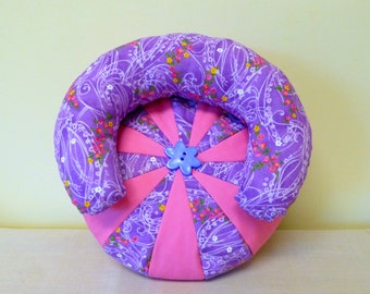 "American Girl Bean Bag Chair/ American Girl Doll Chair/18"" doll Furniture/AG Doll Cloth chair/Round 18"" doll Chair/Purple Lounge Chair"