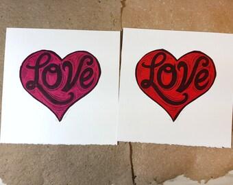 LOVE linocut print collage