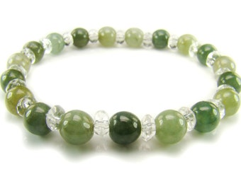 BB0685 Green Jade Clear Quartz Natural Crystal Gemstone Stretch Bracelet