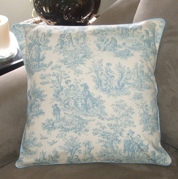Soft blue and white toile decorative by pearblossomcreations - Toile decorative murale ...