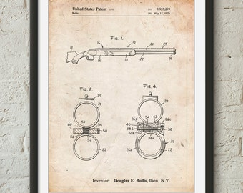 Remington Shotgun Patent Print, Over Under, Shotgun, Duck Hunting, Firearms, PP1012