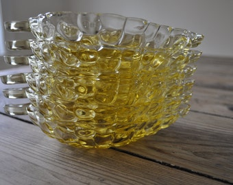 Set of 6 yellow glass bubble relish dishes, leaf shaped , Anchor Hocking Grape Go-Along pattern, 1960's