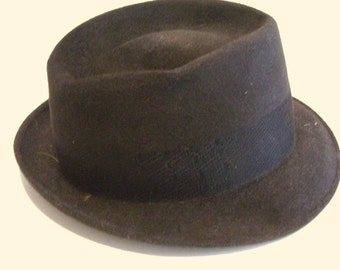 Vintage Mens Fedora Hat Dark Charcoal Rideau Fur Felt Made in Canada