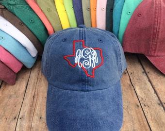 Texas Monogrammed Baseball Hat, Womens hat, monogrammed hat, monogram hat, monogrammed cap, womens baseball cap, bridesmaids hats, Texas hat