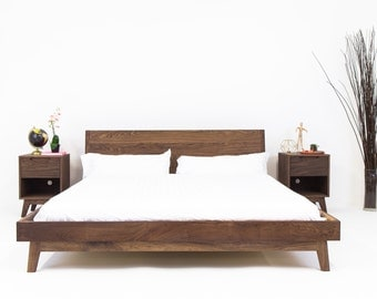 "Platform Bed, Bed Frame, Walnut Bed, Modern Bed, Danish Modern Bed, Queen Bed, Bedroom Furniture, Headboard, Slanted Headboard, ""The Bosco"""
