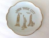 Vintage New York City Souvenir Plate 22 Karat Gold Designs Parksmith Corp NYC