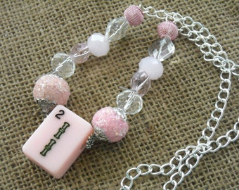 Pink Mahjong Necklace - Mahjong Chain Necklace - Oriental Jewelry