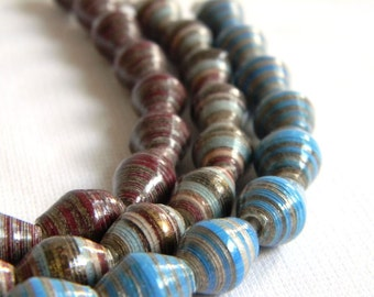 Paper Bead Jewelry Supplies - Paper Beads - Hand painted - Lot of 30 - #B425