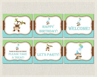 Printable Birthday Party Signs Welcome Monkey Brown 1st 2nd 3rd Green Blue Boys IV-3