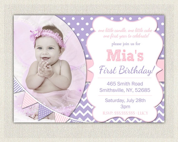 First Birthday Invitation Purple And Pink Girls Purple Birthday - 1st birthday invitations girl purple