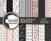 Shabby Chic paper,  pink and black floral paper, floral Digital Papers, Shabby chic floral, floral pattern, commercial use, AMB-1419