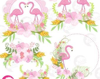 Flamingo Clipart, Pink Flamingo Clipart, Tropical Clipart, Floral Clipart, Exotic Clipart, Summer Clipart, Commercial Use, AMB-1047