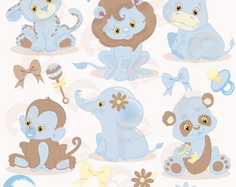 Jungle Animals clipart, Jungle animal babies clipart, Blue Baby Animals, Jungle Clip art, commercial use, vector graphics, AMB-1211