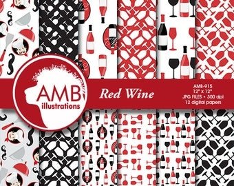 Wine papers, Wine glasses papers, Chef papers, Kitchen papers, Chefs digital papers, Red Wine Papers, commercial use, AMB-915