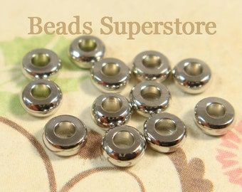 4 mm x 1.9 mm Platinum-Plated Brass Donut Spacer Bead - Nickel Free and Lead Free - 50 pcs