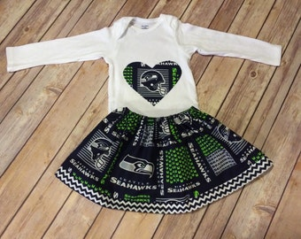 Handmade 'I Heart the Seattle Seahawks' Cotton Baby or Toddler Skirt and Matching Bodysuit Set