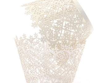 12 White / Light Ivory Pearlized Lace cupcake liners / wrappers - Fits Standard Cupcake Wrappers - CCW355