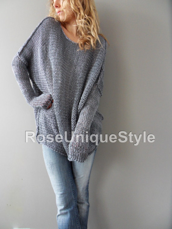 Sale Oversized / Bulky / Slouchy woman knit sweater.