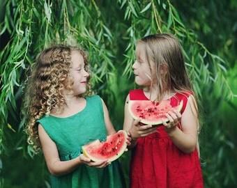 Summer linen dress-emerald green or raspberry red