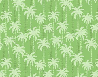 Lewis & Irene Patchwork Quilting Fabric Palm Trees A132.3 Green