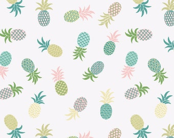 Lewis & Irene Patchwork Quilting Fabric Pineapples A134.1 White