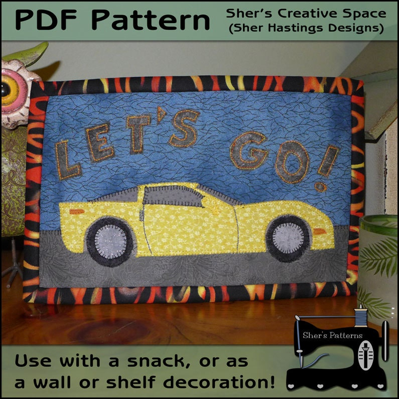 PDF Pattern For Sports Car Rug Men's Mug Rug Pattern Car