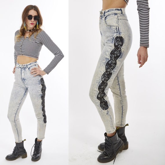Vtg 80s 90s High Waisted Acid Washed JEANS Cut Out LACE PATCHWORK Sexy Retro Glam Rock Punk Raver Club Kid Boho Grunge Biker Babe Moto xs/s