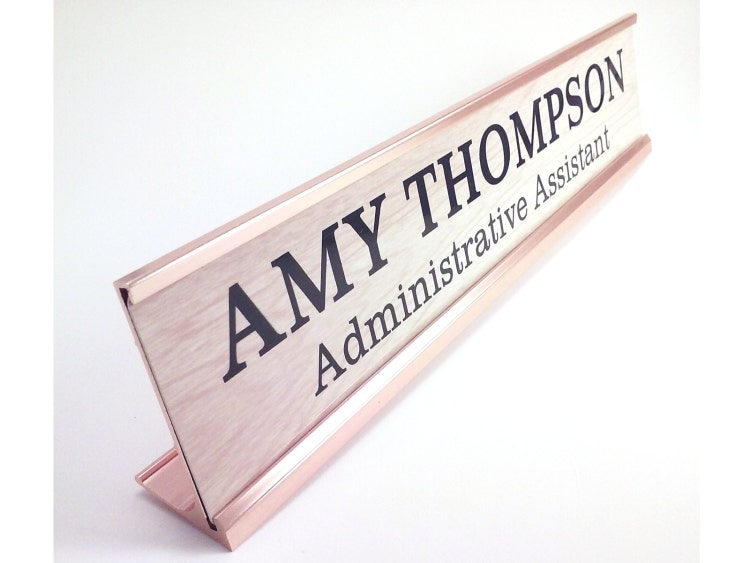 Wooden Desk Name Plates ~ Personalized desk name plate nameplate wood look by