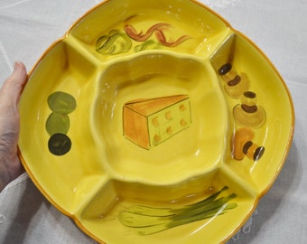 Vintage Los Angeles Potteries Platter Chip Dip Plate Bowl Yellow California Pottery Collectible Panchosporch