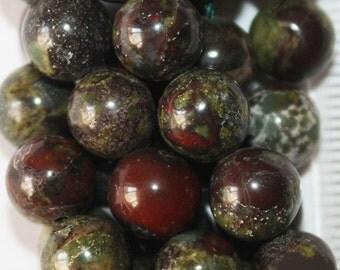 "Natural Dragons Blood Jasper Beads - Round 8 mm Gemstone Beads - Full Strand 15 1/2"", 46 beads, A-Quality"