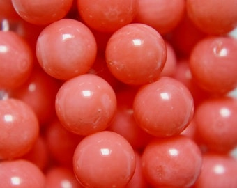 "Pink Coral Beads - Round 6 mm Gemstone Beads - Full Strand 16"", 64 beads, A-Quality"