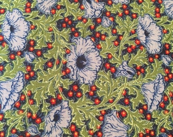 Victoria and Albert fabric Vintage Florals Floret VA38 Sangria blue green rust lilac flowers Freespirit 100% cotton fabric by the yard