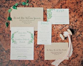 Wedding Invitations Greenery Invitation Suite Rustic Wedding SAMPLE INVITE