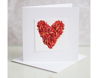 Valentines card. Chilli greeting card. Heart blank card. Card for him. Card for her.