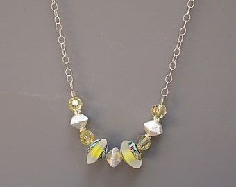 Yellow Bead Necklace with Swarovski Crystals - Meadowlark Necklace - Lampwork Jewelry - Anniversary Gift for Wife