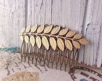 Brass Leaf Hair Comb//Wedding Hair//Bridal Hair//Bridesmaids//Woodland Wedding Hair Accessories//Nature//Leaf Hair Piece//Romantic//Boho