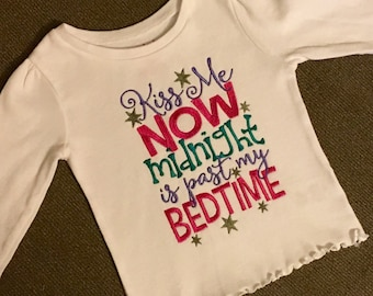 Kiss me now midnight is past my bedtime onesie/shirt
