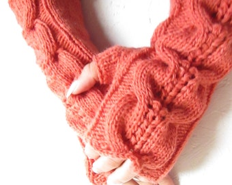 Ready to ship! brick red long  fingerless gloves, knitted  Fingerless Half Gloves  women fingerless, wool acrylic  gloves