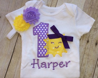You are my sunshine first birthday outfit , 1st  birthday sun  outfit - Toddler girl,  Baby Girl personalized , 1st Birthday  girl , purple