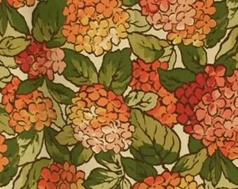 Vintage Orange Harvest Gold Avocado Green Hydrangea Upholstery Weight Print 70s Seventies 1 yard Floral
