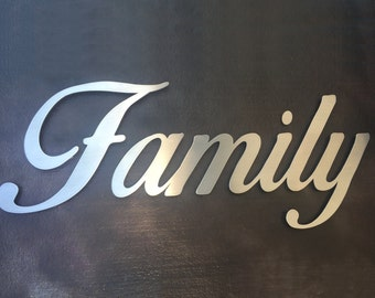 Family Metal Wall Art Family Sign Metal Family Sign Home Decor Metal