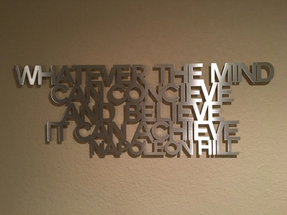 Metal wall decor quotes : Napoleon hill metal wall art quote think and by inspiremetals