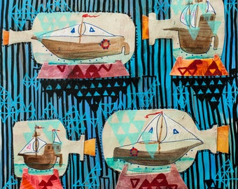 """Ships in Bottles 10""""x10"""" mixed media original painting"""